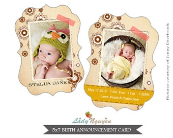 INSTANT DOWNLOAD - Ornate Birth Announcement Card Template - CA073