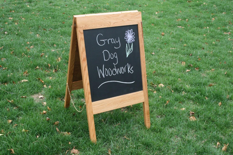 solid red oak sandwich board sidewalk sign chalkboard easel. Black Bedroom Furniture Sets. Home Design Ideas