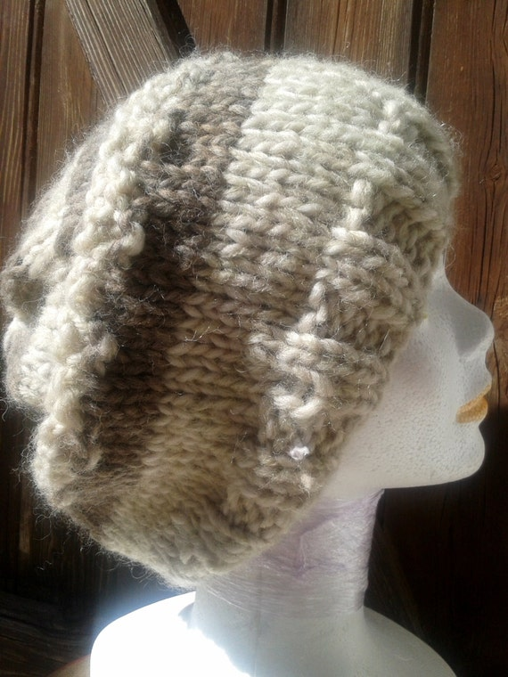 Beige Brown Slouchy Hat- 100% French Wool- Handmade- Made in France Style - Pure Wool Knitted-  Natural - Organic- Medium Beanie- Unisex