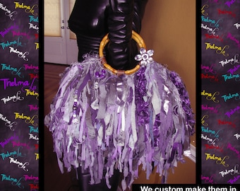 Purple Fringe Handbag,Bag,Upcycle,Bling,Beads,Jewels,Rhinestone,ultra Fringe,Custom Made,One Of A Kind, Hippie,BoHo,Funky,Purse,Tote