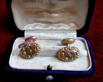 Art Nouveau cuff links in box 14kt with diamond. In good shape. very nice