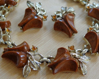 Vintage Necklace and Earring Thermoset with Citrine Rhinestones Silver Tone