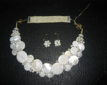 Nigerian African Wedding Traditional Party White Shell, Mother of Pearl, Ribbon Jewellery Set