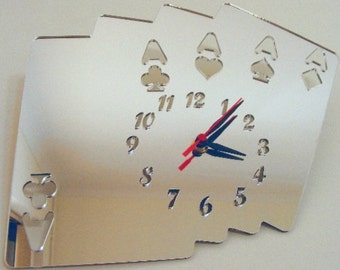 Aces High Cards Mirror Clock - 2 Sizes