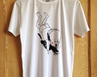 Original Artist T-shirt hand screen printed father floating by Toseki An (men's)
