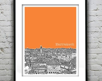 Marrakech Morocco Poster Art Skyline Print