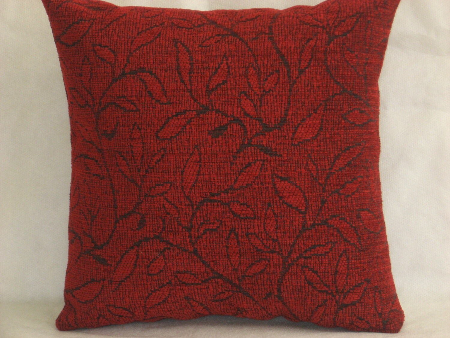 Burgundy Microfiber Throw Pillows : Burgundy dark red decorative chenille luxury