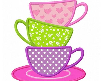 Tea Cups Applique Machine Embroidery Design NO:0182