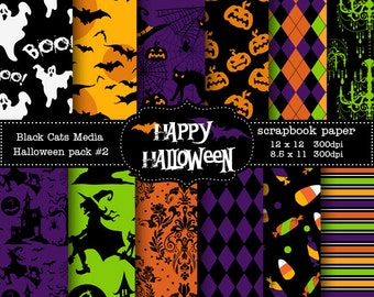 Halloween Paper Printable Halloween Digital Paper -  Halloween Party - Instant Download  12 x 12 in AND 8.5x11 in -