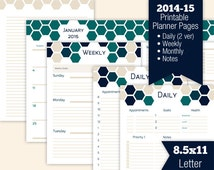 Printable Planner Pages 2014-2015 - Daily, Weekly, Monthly, Notes - Letter 8.5 x 11 - Terracomb