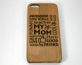 Awesome Mom iPhone 5 or iPhone 5S or SE Case. Eco-Friendly Bamboo Wood Cover. Mother Mommy Woman Wife Birthday Mother's Day Gift Present.