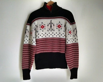 Black and Red Ski Snowflake Sweater - Medium