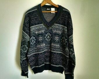 Navy Blue Snowflake Design Vintage V-neck Sweater - Large