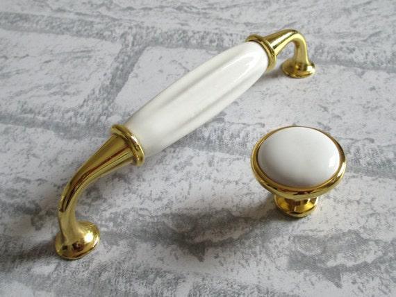 gold white knobs dresser pulls drawer pull by lynnshardware. Black Bedroom Furniture Sets. Home Design Ideas