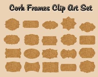 """Cork  Frames Digital Clip Art Set-Instant download """"CORK FRAMES"""" printable cork label,embelishments for Scrapbooking,Invites,Cardmaking 124"""