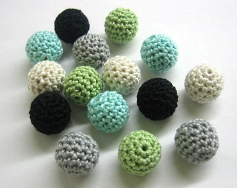 Crocheted beads 16 mm - round handmade beads, gray green blue mix, 15 pc