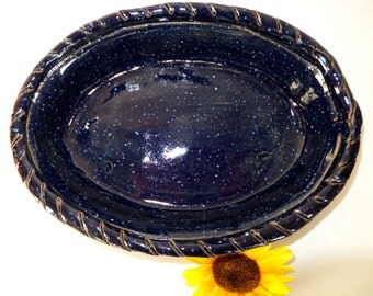 Rope Rim Oval Casserole in Midnight Blue with Stars
