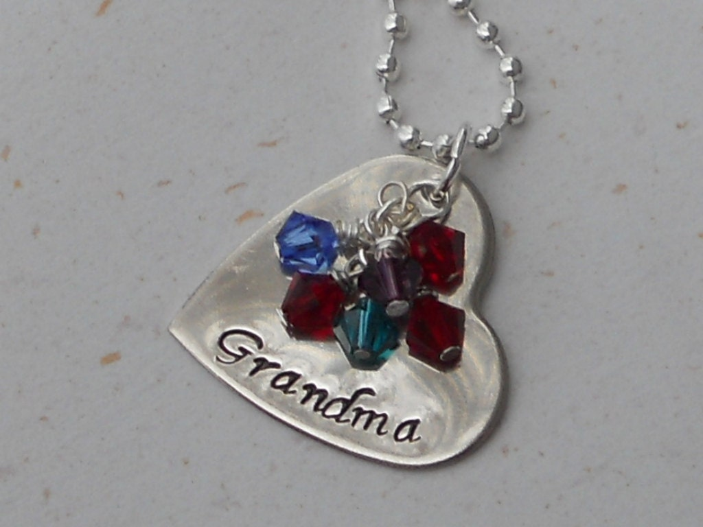 Custom hand stamped personalized grandmother 39 s necklace for Grandmother jewelry you can add to