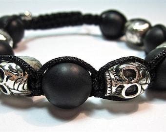 Shamballa macrame bracelet with skull and onyx