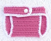 Diaper Cover , Crocheted , back pocket - Pink - Newborn to 24 Months - Ready to Ship