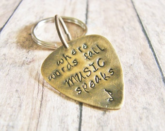 Where words fail MUSIC speaks- hand stamped key chain- musician gift- band student/teacher gift