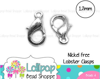 12mm x 6mm Silver Plated Lobster Clasps NICKEL FREE 20-ct Silver Color Brass Lobster Claw Clasps DIY Jewelry Supplies Jewelry Making Supply