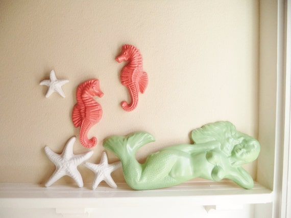 Nautical wall hanging sculpture collection, mermaid statue, seahorse, decor, starfish wall hanging sculptures