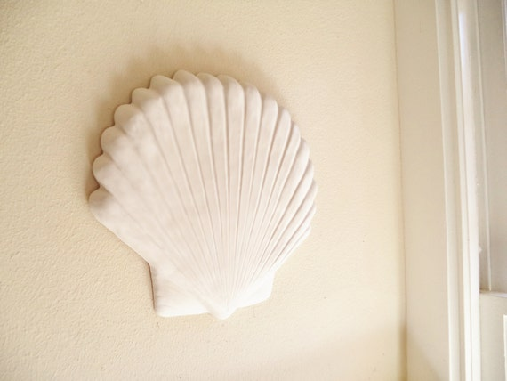 Large sea shell wall hanging sculpture, set decor, white sea shell beach decor, nautical art, clam shell