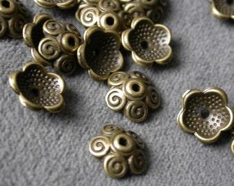 95pcs Antique Bronze 10X3mm  Cap flower beads Charm Drop Pendant  M13