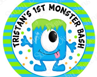 PERSONALIZED STICKERS - Custom Adorable Monster Bash Personalized Labels -  Gloss Labels