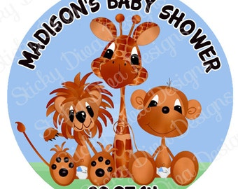 PERSONALIZED STICKERS - Custom Baby Shower - Giraffee Lion Monkey - Personalized Labels -  Gloss Labels or Tags