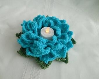Turquois Flower votive candle holder