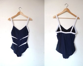 1908's vintage Swimsuit / Navy Blue and white Swimsuit / One Piece Swimsuit / US 8 / F 40