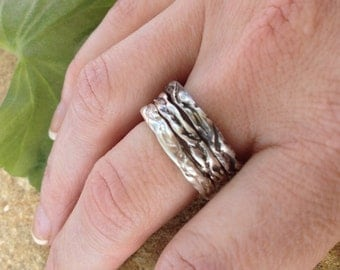 Stack Rings- lost wax carved sterling silver