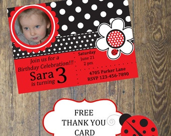 Lady Bug Birthday Invitation with picture