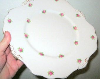vintage rosebud China sandwich or cake plate perfect condition