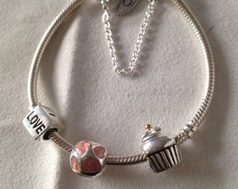 Authentic Pandora Bracelet with mixed metals charms/safety chain