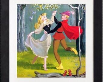 Disney Vintage Art Print - Sleeping Beauty and Prince Charming