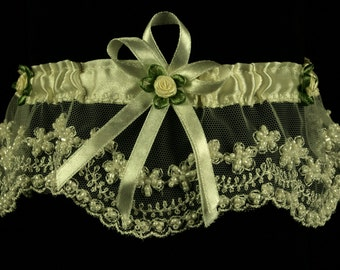Bridal Garter -Dana Wedding Garter with Lace,Satin,Crystals and Beads-Bridal Accessories