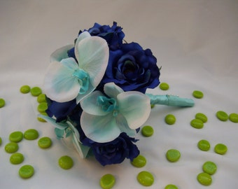 Bouquet with Royal Blue Roses, Hydrangeas, Turquoise Orchids