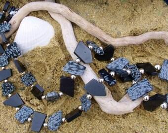 Irregular Shaped Black & Snowflake Obsidian Sterling Silver Necklace