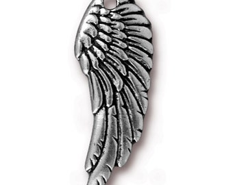 Set of 4 Lead-Free Pewter Silver-Colored Wing Charms