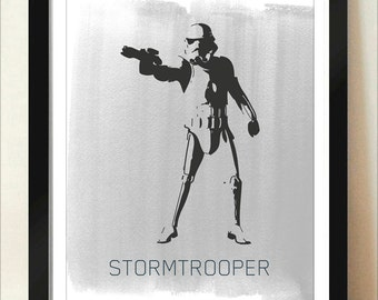 Digital Download Star Wars Storm Strooper White Star Wars Empire Strikes Back Return of The Jedi Poster - Boys Room - 8x10 11x14 12x18