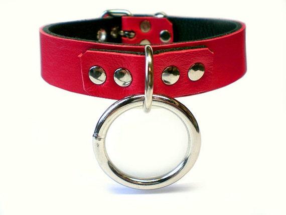 Deluxe Red and Black Locking Bondage Collar -