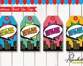 Superhero Thank You Tags for Superheroes Birthday Party. DIY Superheroes Favor Tags Party Printables in 4 designs! Instant Download Digital