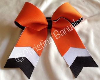 Trio Layer Orange White Black Softball/Cheer Bow - #191929306