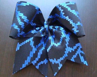 Blue Digital Cheer Bow