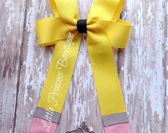Cute Pencil Hair Bow, Back to School Bow