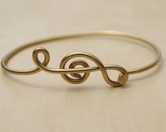 Gold Treble Clef Bicycle Spoke Bracelet