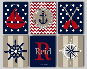 Baby Boy Nursery Art Nautical Nursery Bedding Decor Anchor Print Sailboat Print No Wake Zone Choose Colors - NN1552